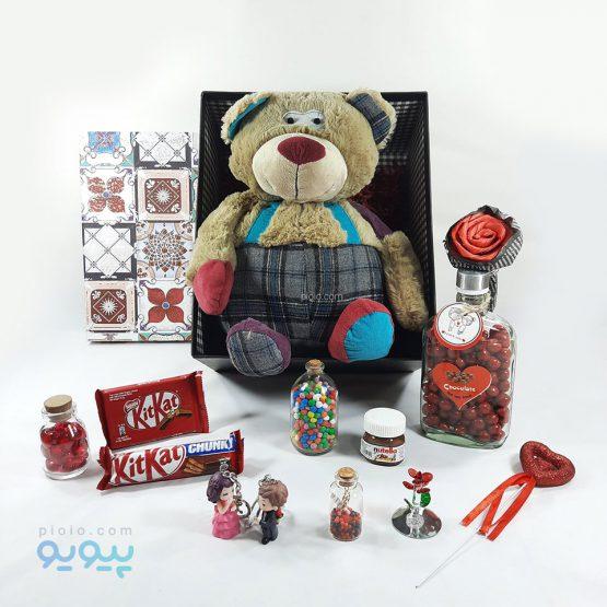 پک هدیه ولنتاین با عروسک خرس تپل