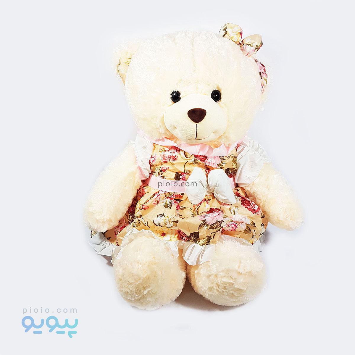 عروسک خرس سفید بزرگ شیک پوش |
