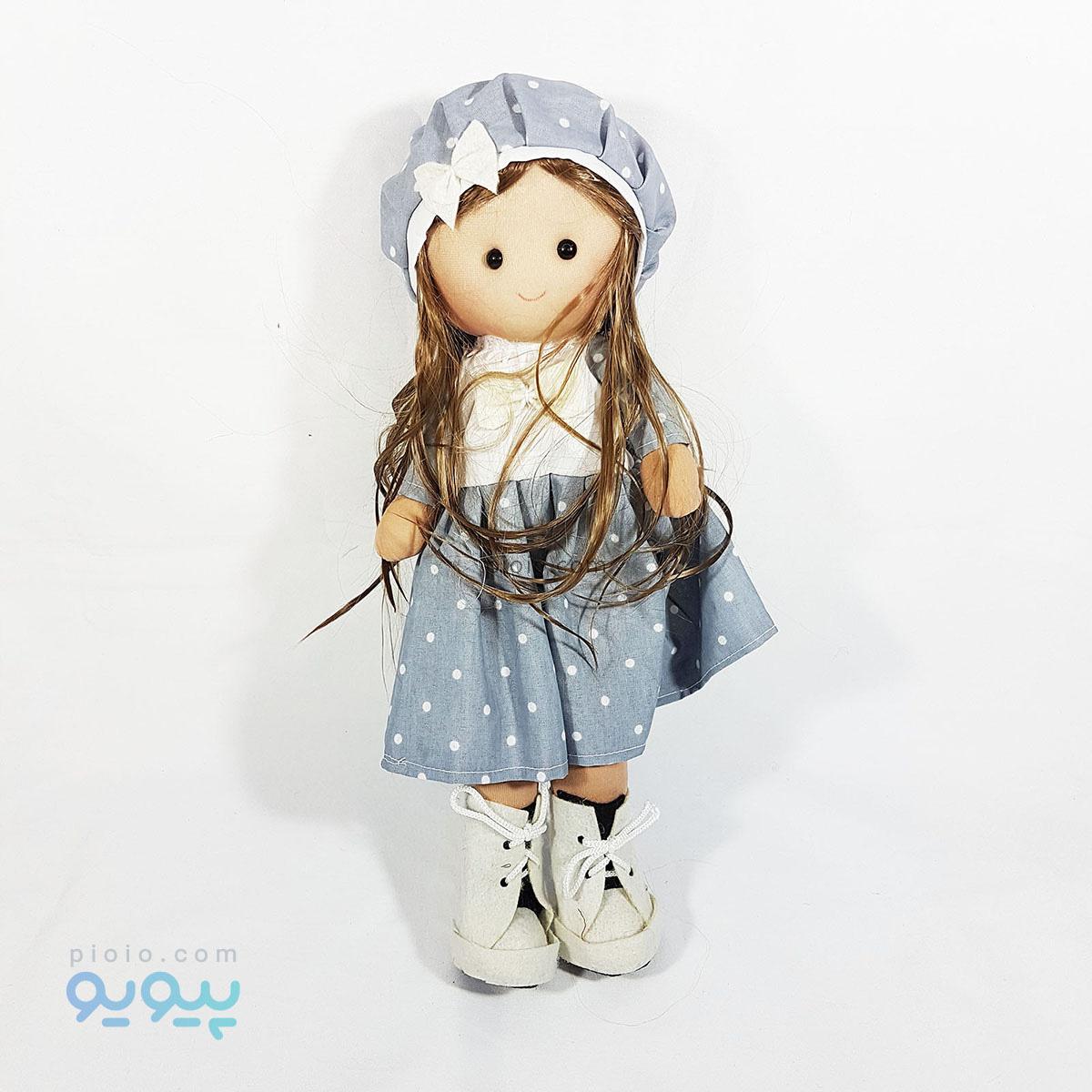 عروسک دختر روسی ارزان مدل لباس طوسی ۳۷ سانتی |