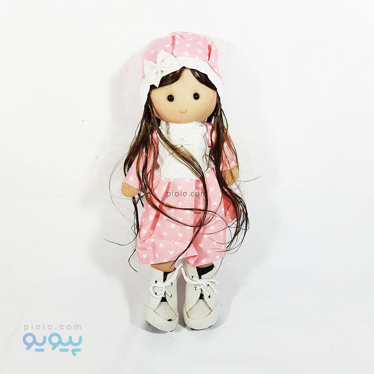 عروسک دختر روسی مدل لباس گلبهی مو خرمایی ۳۷ سانتی |