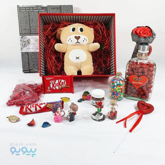 پک کادویی ولنتاینی با عروسک خرس