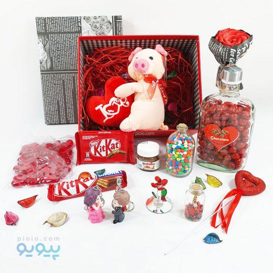 پک ولنتاین با عروسک خوک نشسته ولنتاینی