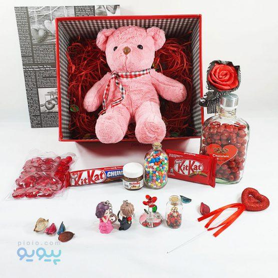 پکیچ کادویی ولنتاین با عروسک خرس ولنتاینی