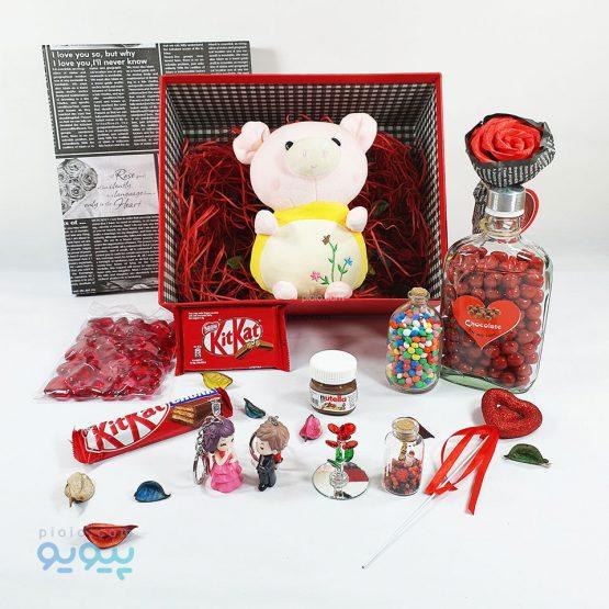 پک کادو ولنتاین با عروسک خوک گلدار