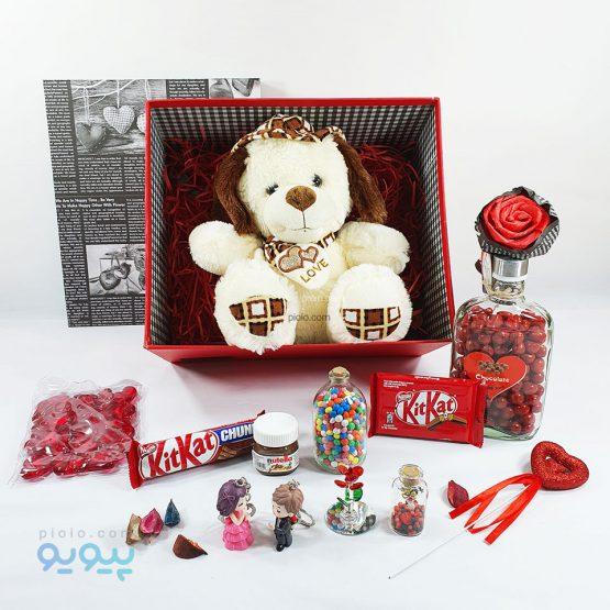 پک هدیه با عروسک خرس با کلاه