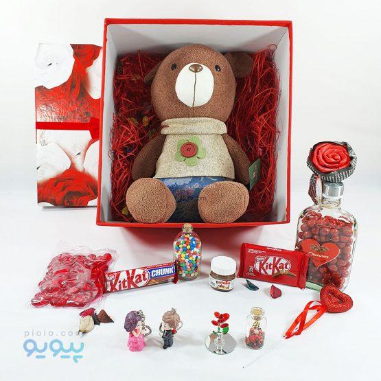 پکیج کادو ولنتاین با عروسک خرس