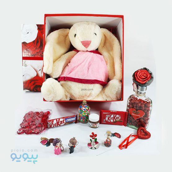 پک هدیه ولنتاین با عروسک خرگوش پرنسس
