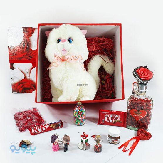 پک هدیه ولنتاین با عروسک گربه اشرافی