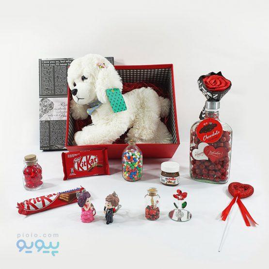پکیج ولنتاین با عروسک سگ پا بلند اشرافی