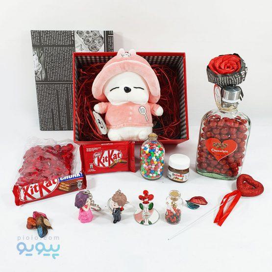 جعبه کادو ولنتاین با عروسک خرگوش
