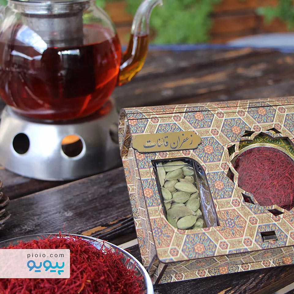 پکیج زعفران و هل بسته بندی چوبی