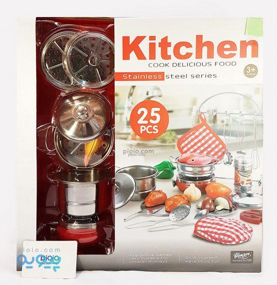 اسباب بازی وسایل آشپزخانه استیل 25 تکه