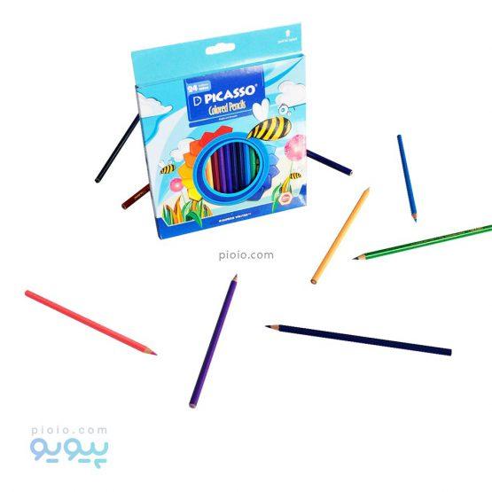 مداد رنگی 24 رنگ جعبه مقوایی پیکاسو