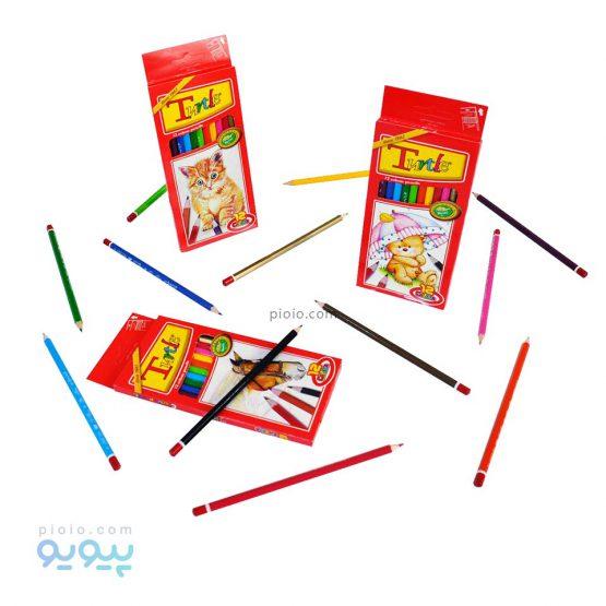 مداد رنگی 12 رنگ جعبه مقوایی لاک پشت
