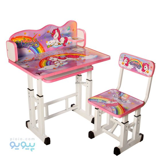 میز تحریر کودک دخترانه طرح اسب تک شاخ یونیکورن