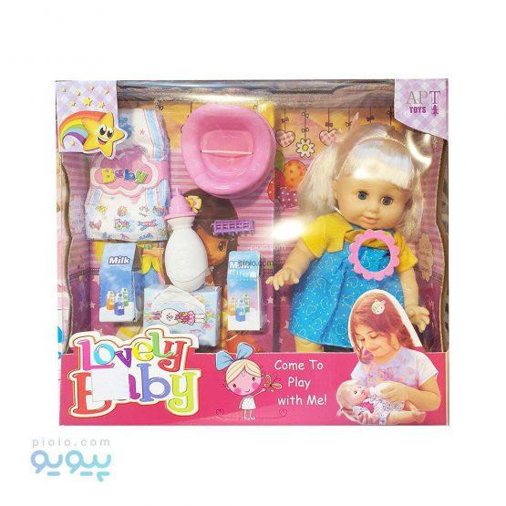 عروسک شیرخوار و پوشکی با لوازم آرایشی Lovely Baby