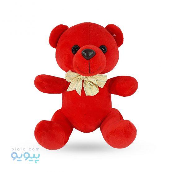 عروسک خرس قرمز ولنتاین مدل پاپیون دار