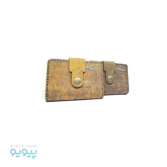 کیف جا کارتی چرمی دکمه ای