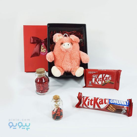 جعبه کادو ولنتاین با عروسک خوک