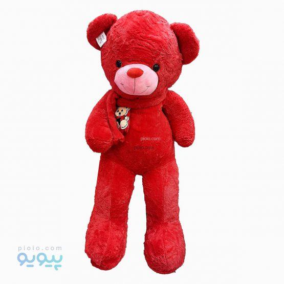 عروسک خرس شالگردن دار قرمز
