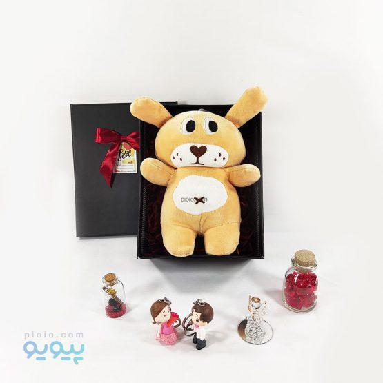 پک هدیه با عروسک خرس مخمل کشی