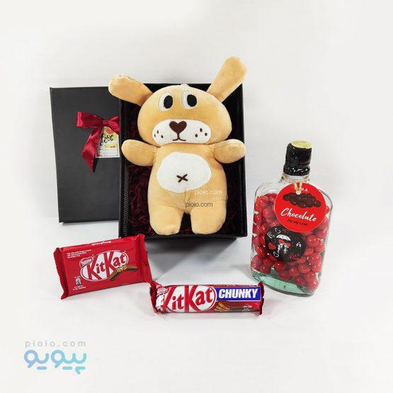 باکس هدیه با عروسک خرس مخمل