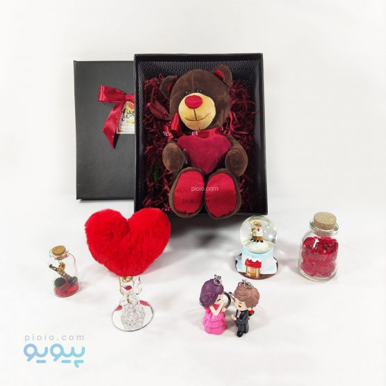 باکس هدیه با عروسک خرس