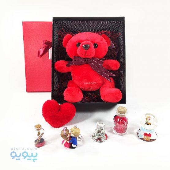 باکس هدیه تولد با عروسک خرس قرمز