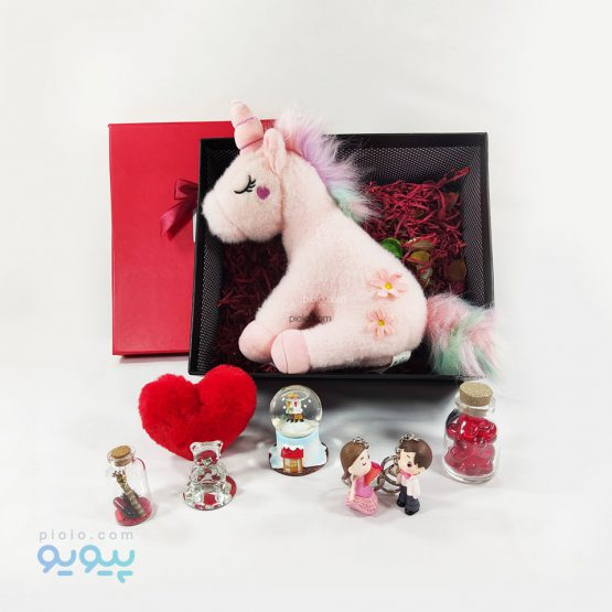 باکس هدیه تولد با عروسک یونیکورن