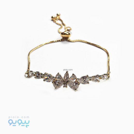 دستبند زنانه طرح الماس و پروانه