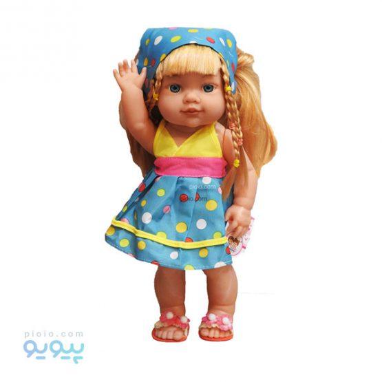 عروسک دختر چشم آبی با لباس آبی