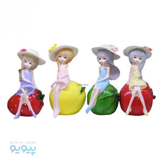 مجموعه چهار عددی مجسمه طرح دختر میوه ای
