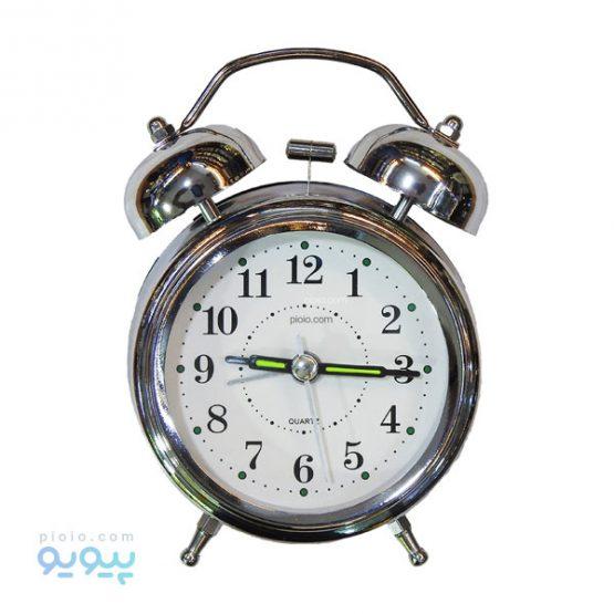 ساعت رومیزی نقره ای زنگ دار