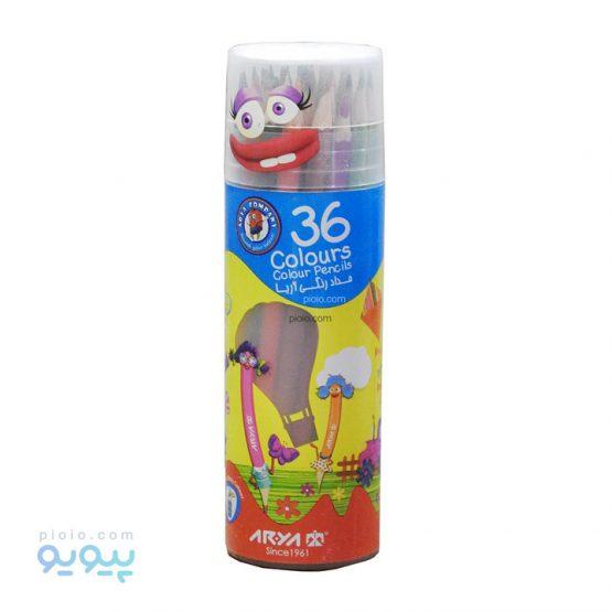 مداد رنگی آریا 36 رنگ استوانه ای