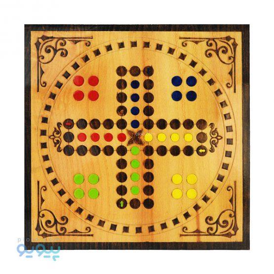 تخته بازی چوبی دو طرفه منچ و مار و پله