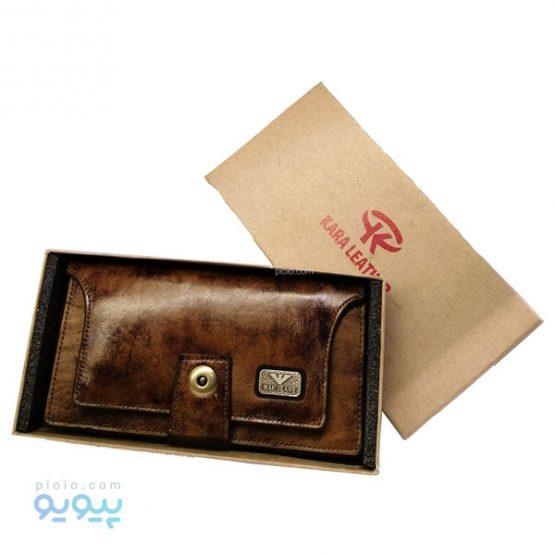کیف پول دکمه دار چرمی مردانه
