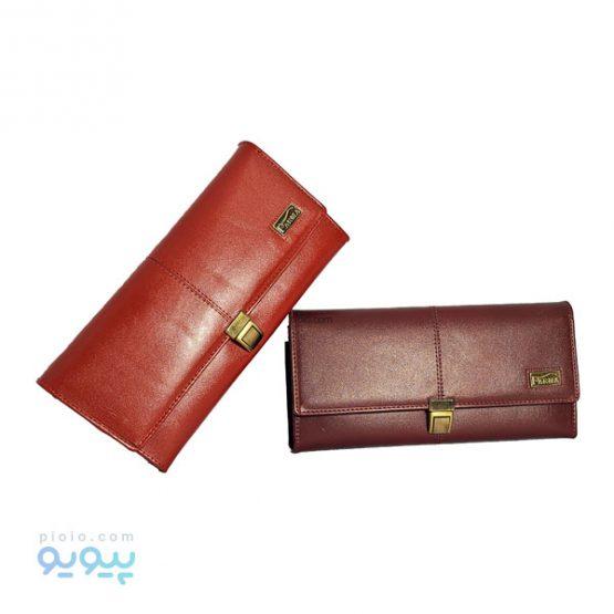 کیف پول زنانه چرمی قفل ناخنی کد 480