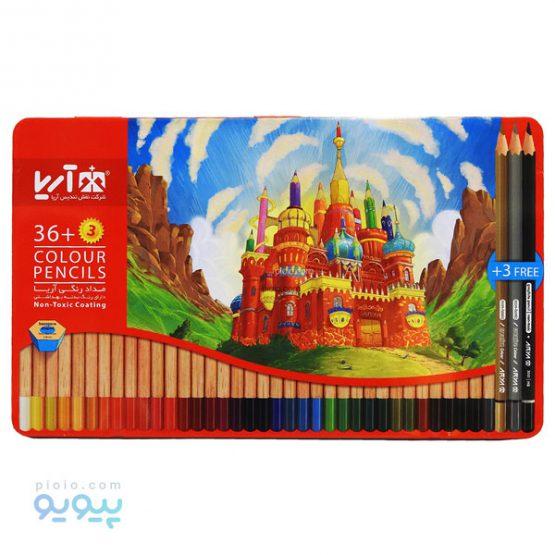 مداد رنگی 3+36 عددی آریا با جعبه فلزی