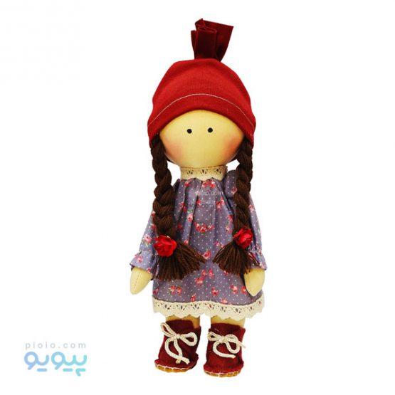 عروسک دختر موبافته پیراهن گل گلی