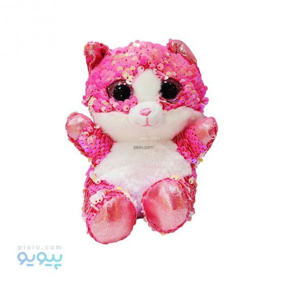 عروسک گربه صورتی پولکی
