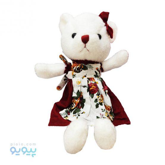 عروسک گربه پاپیون قرمز پیراهن گل گلی