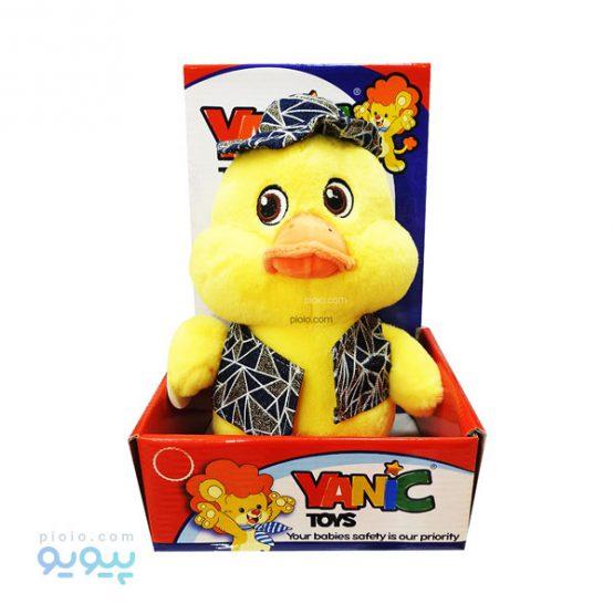 عروسک اردک زرد کلاه خط خطی yanic toys