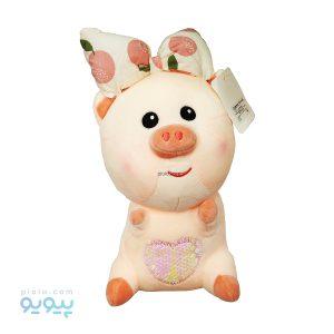 عروسک بچه خوک با گل سر پاپیونی طرح میوه