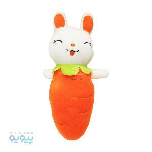 عروسک بالشتی خرگوش هویجی سفید و نارنجی