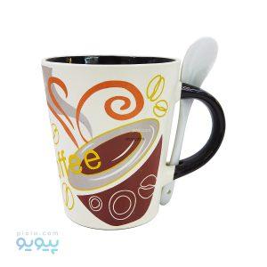 ماگ قاشق دار سرامیکی COFFEE کد26