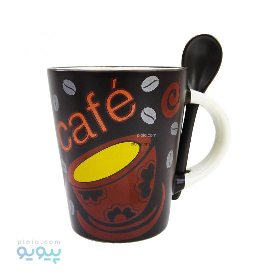 ماگ سرامیکی قاشق دار طرح café