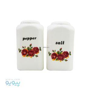 مجموعه 2 عددی نمکدان و فلفل دان طرح گل سرخی