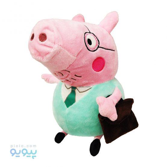 عروسک خوک عینکی کارمند با کیف اداری