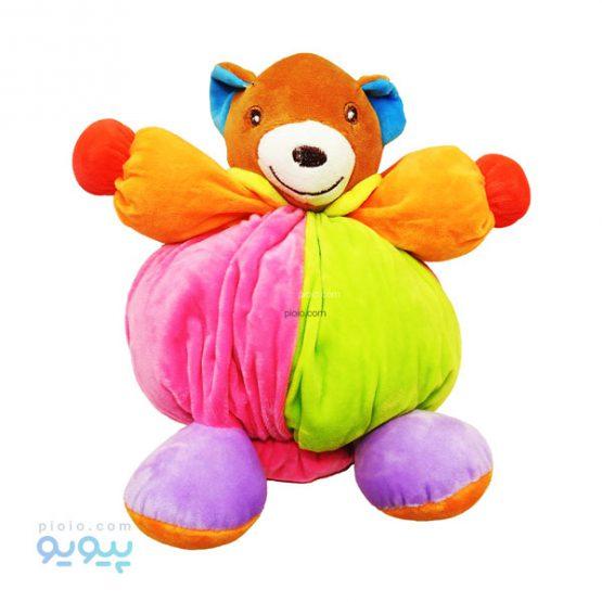 عروسک بالشتی خرس دلقک رنگی رنگی