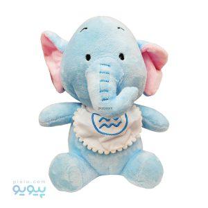 عروسک نوزاد فیل آبی با پیشبند زیگزاگی